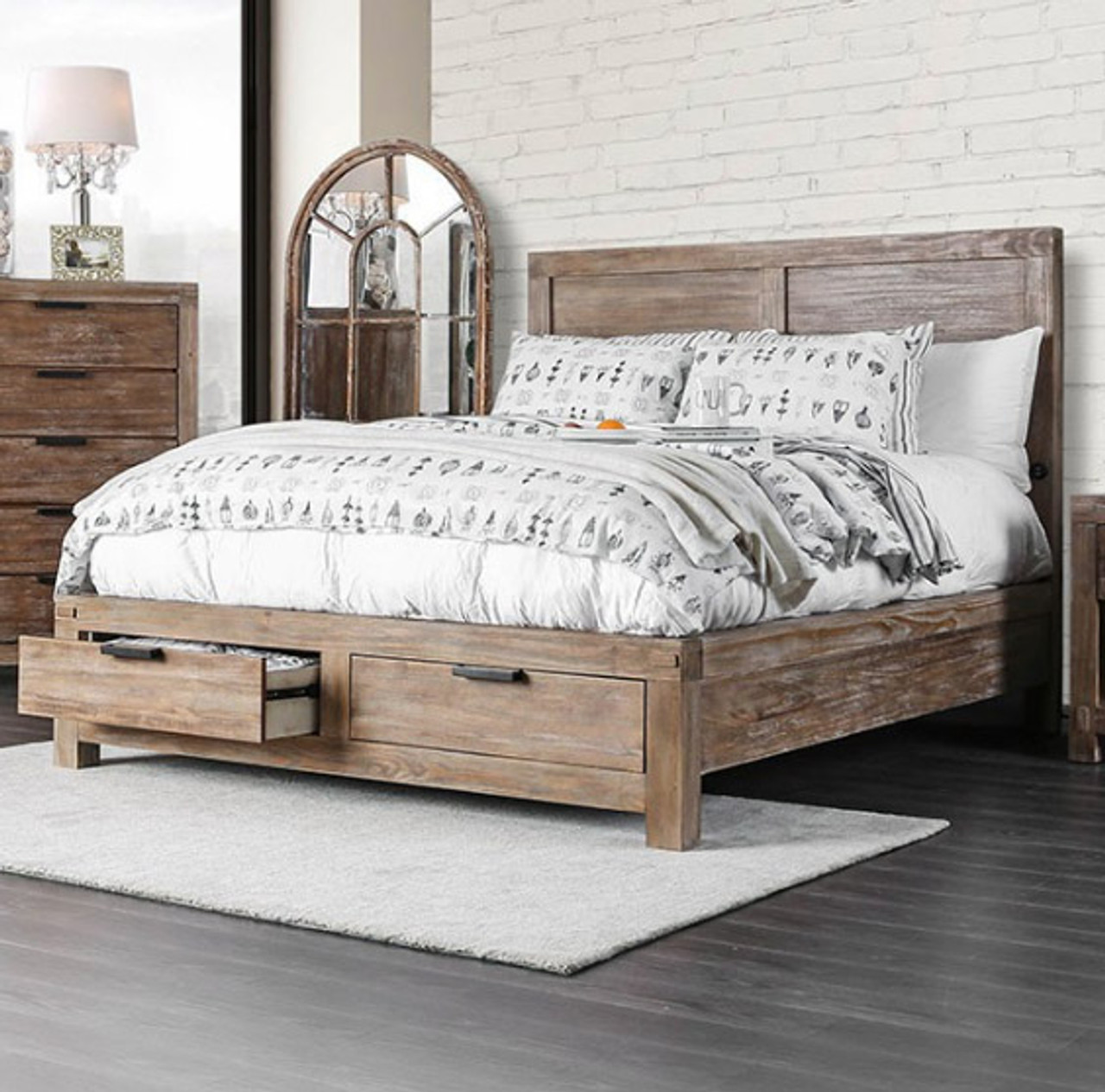 Ardentown 2-PC Weathered Oak Panel Bed and Nightstand