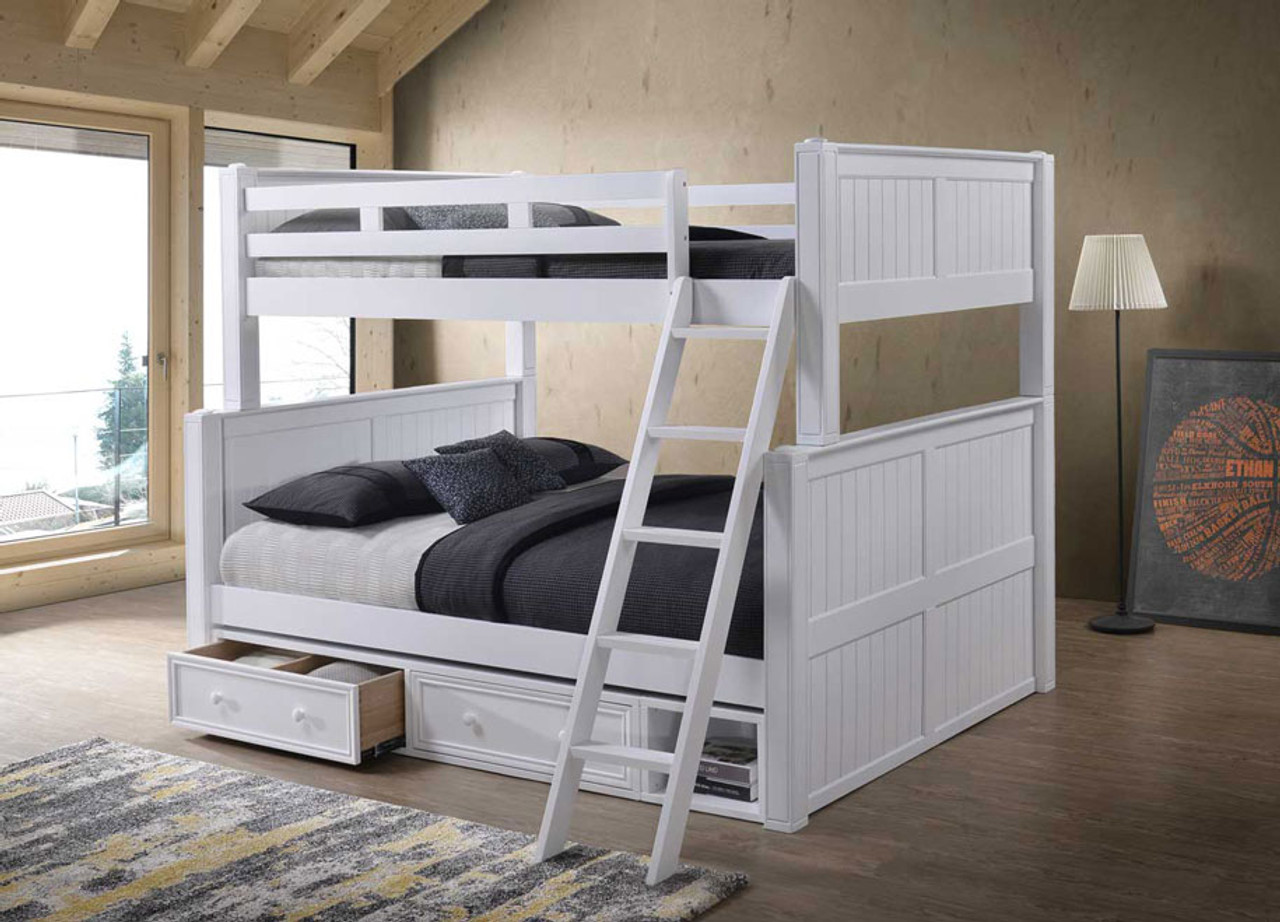 Picture of: Dillon Xl Full Over Queen Wood Bead Board Bunk Bed