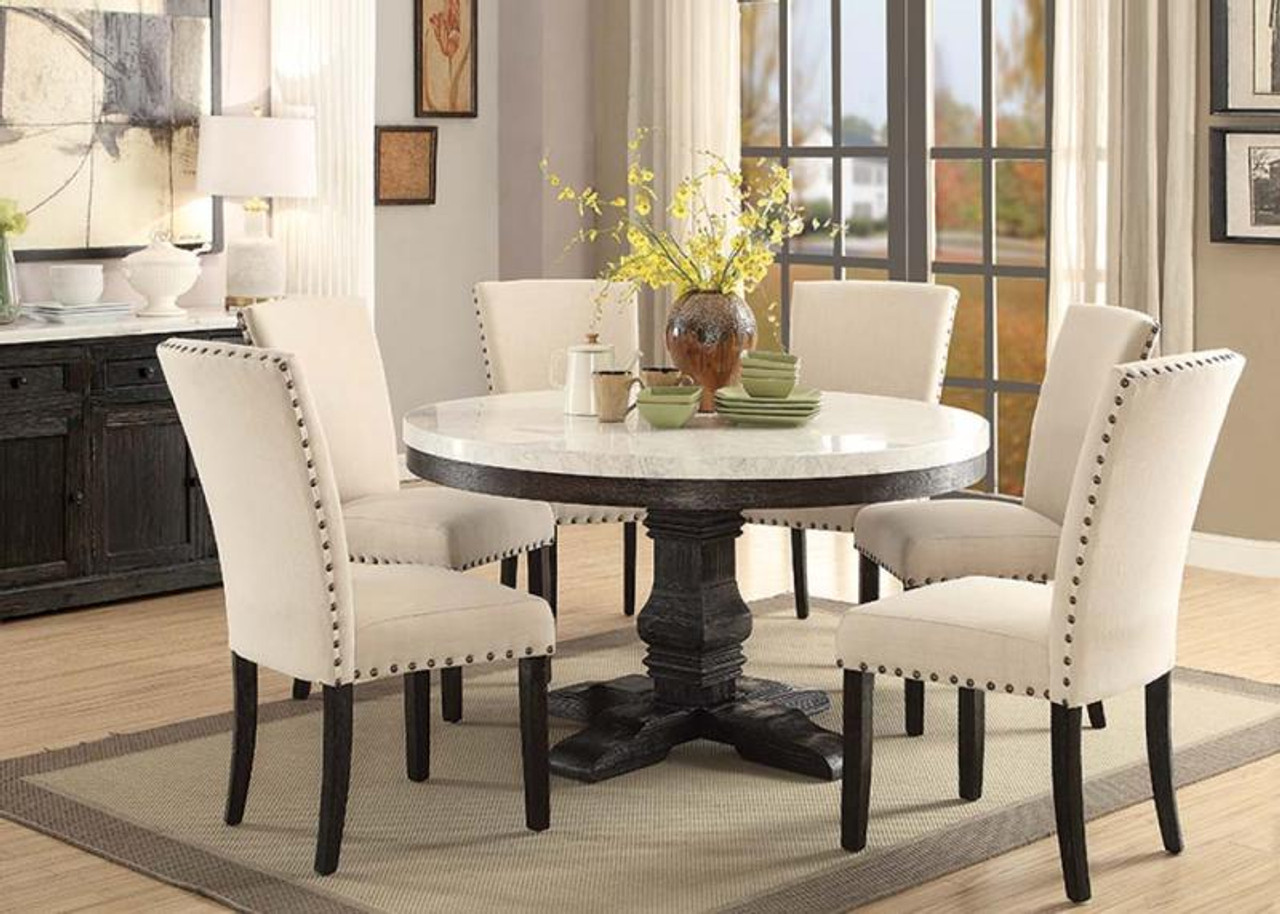"54"" Nolan Round Marble Top Dining Room Set"