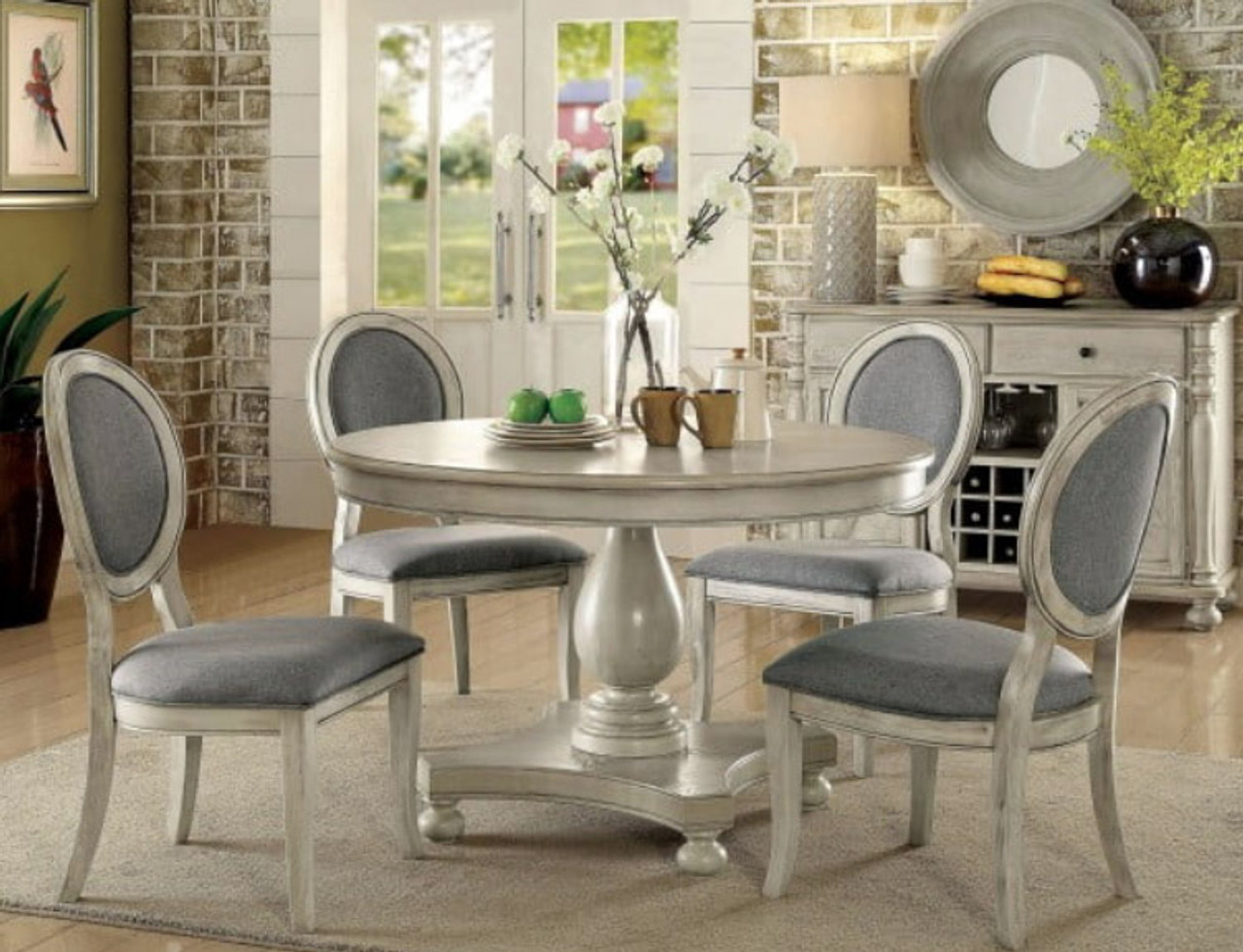 4 Seater Kathryn Antique White Round Dining Table