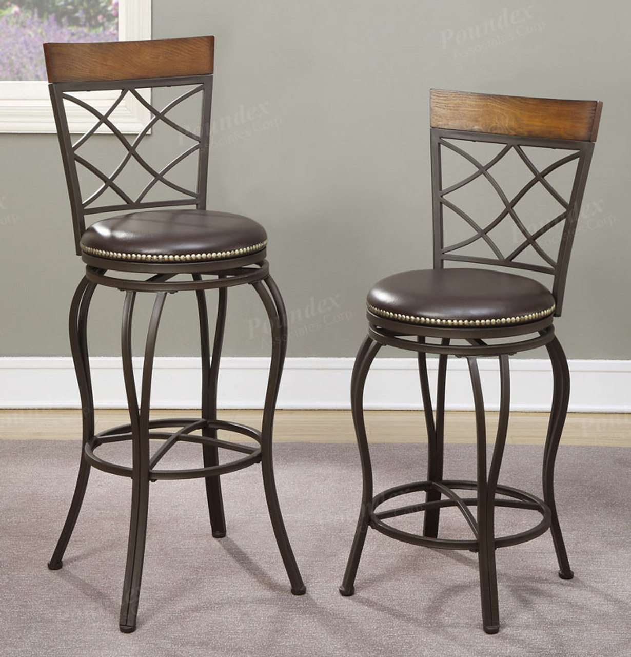 Poundex F1417 Swivel Metal Chairs W Leatherette Seat
