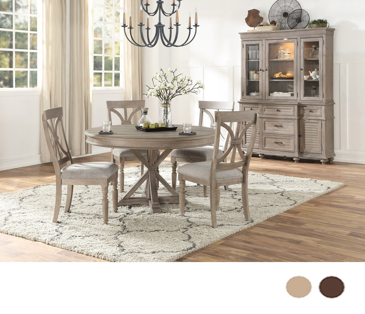 Conrad 54 Round Trestle Dining Table Seating For 4