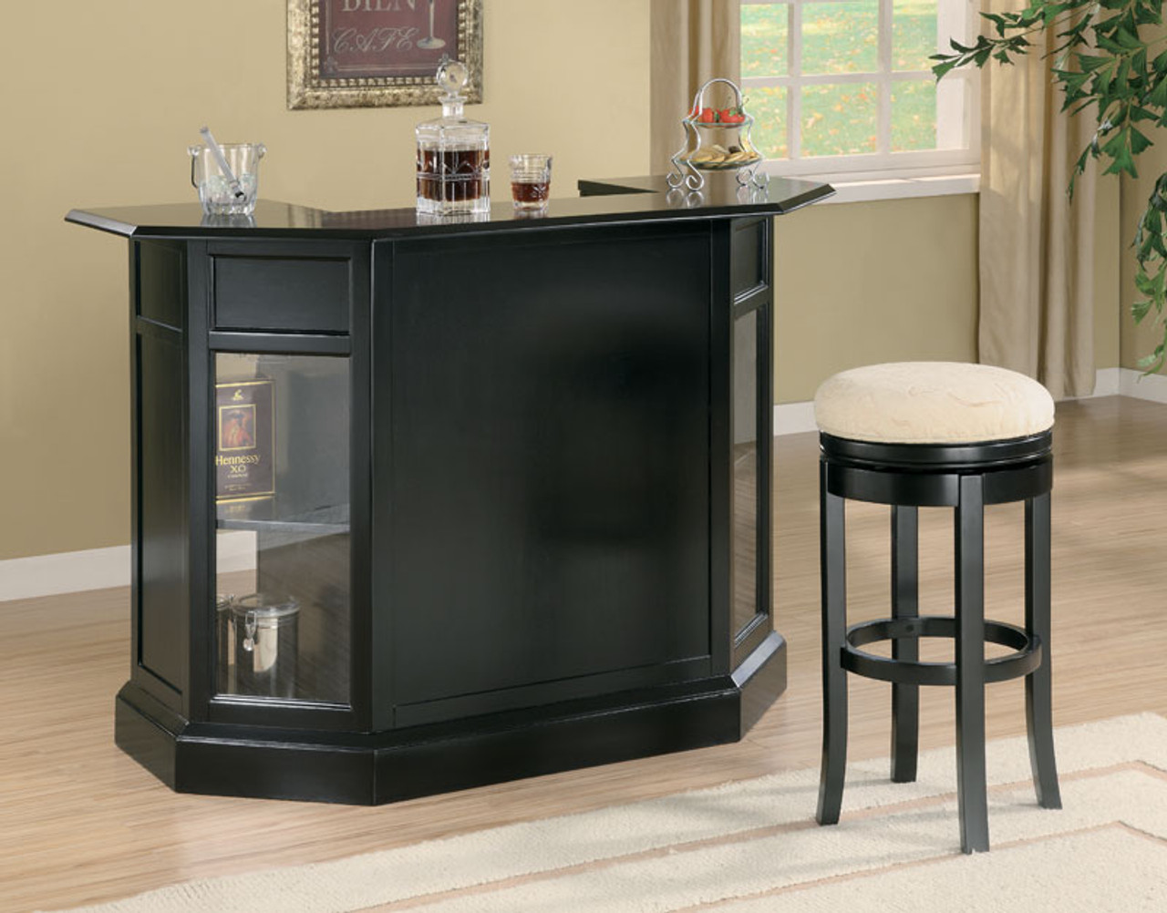 Anavia Black Home Bar Counter With Shelving