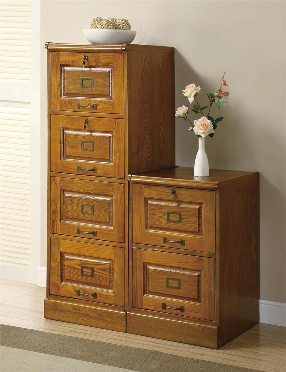 Picture of: Wood File Cabinet Medium Oak 4 Drawer Cabinets Office Furniture
