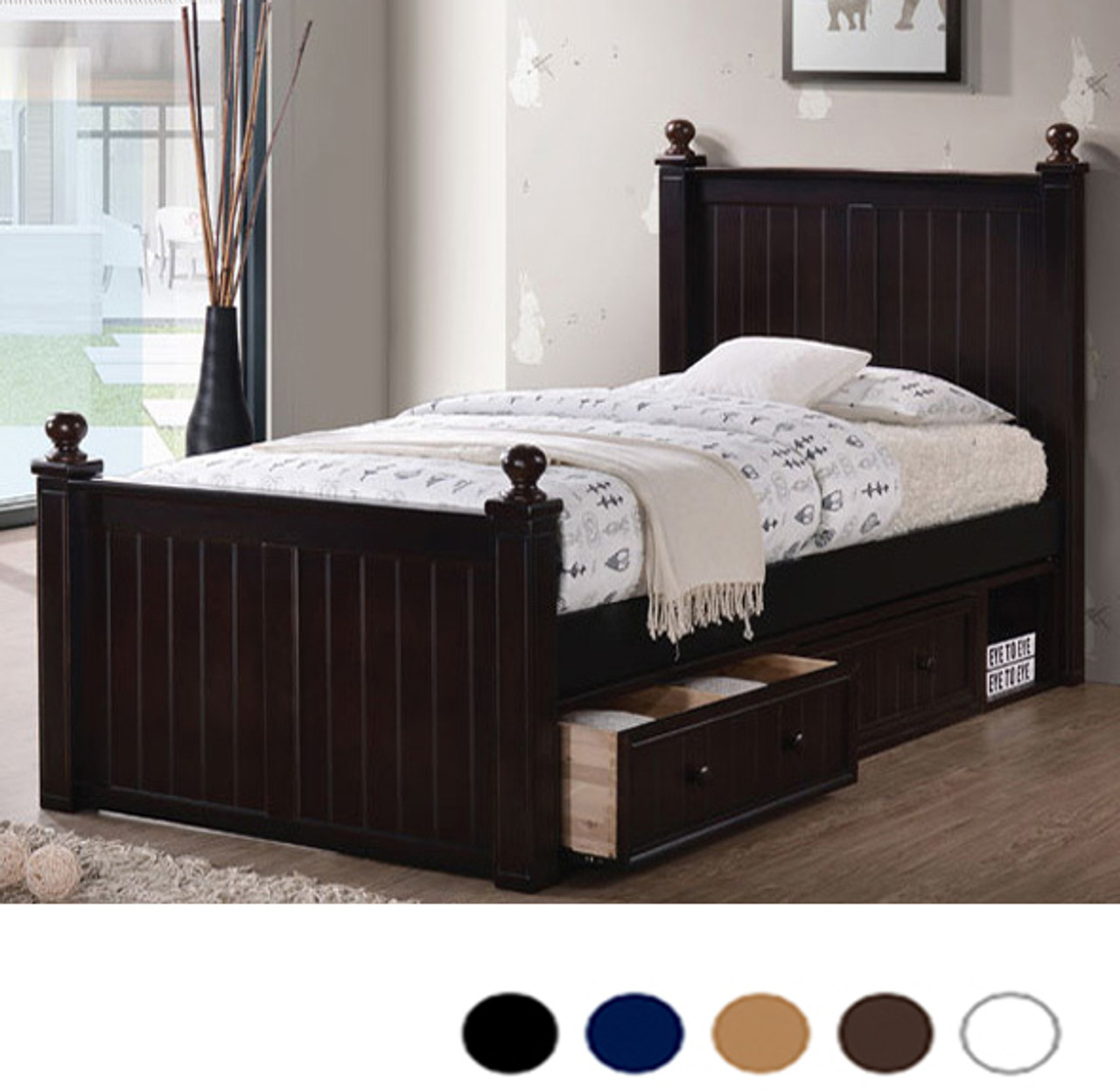- Dillon Extra Long Twin Wood Bead Board Bed XL Beds With Trundle