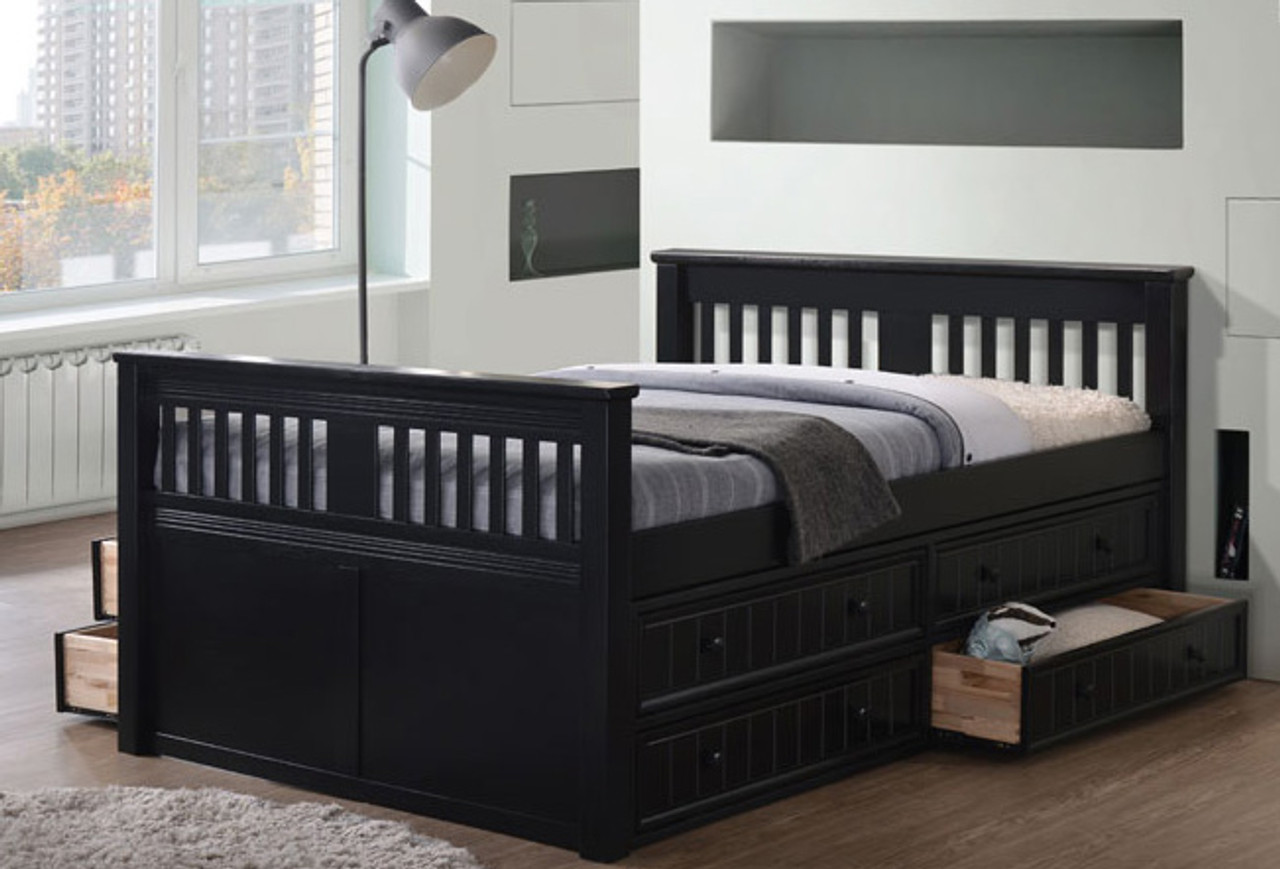 Gary Mission Wood Full Size Bed Platform Bed With Drawers
