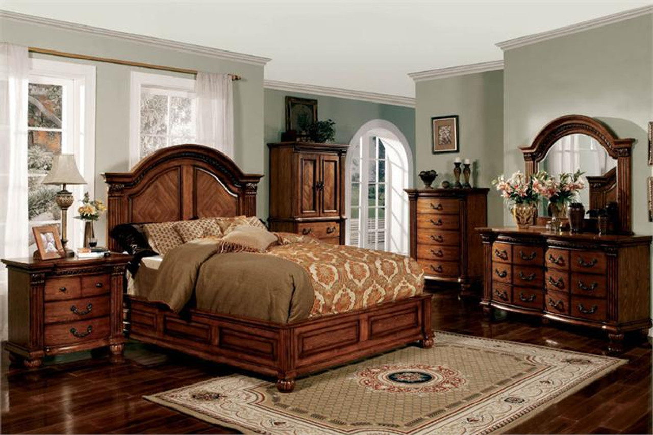 bellagrand antique tobacco oak queen platform bed