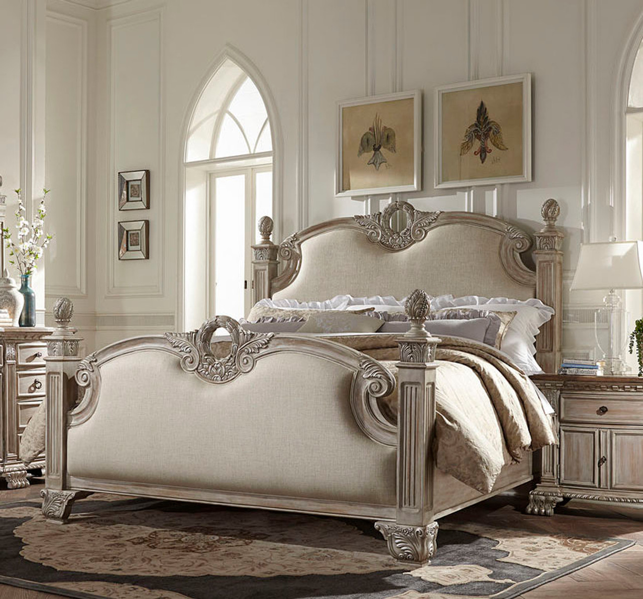 Orleans White Washed Weathered Brown Bed