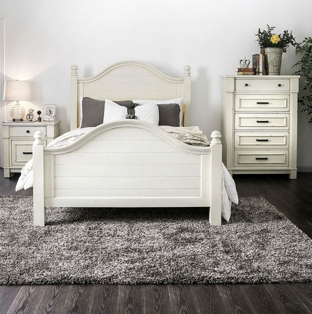 Aria 2-PC Antique White Camelback Bed and Nightstand
