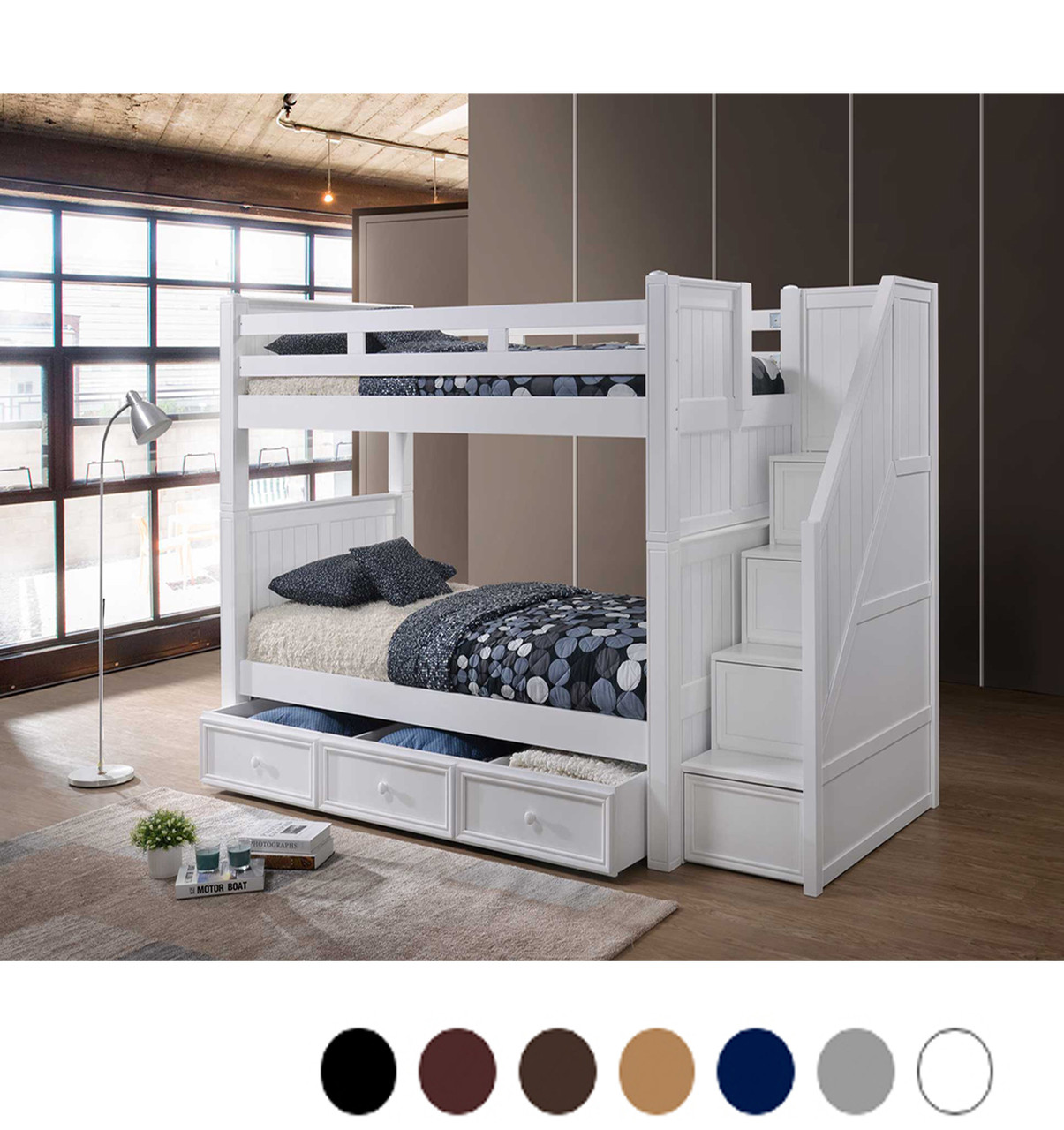 Picture of: Dillon White Twin Bunk Bed With Storage Stairs