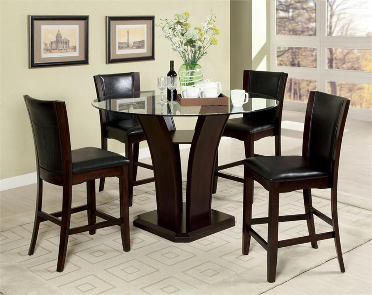 48 Manhattan Glass Counter Height Dining Table w/Chairs