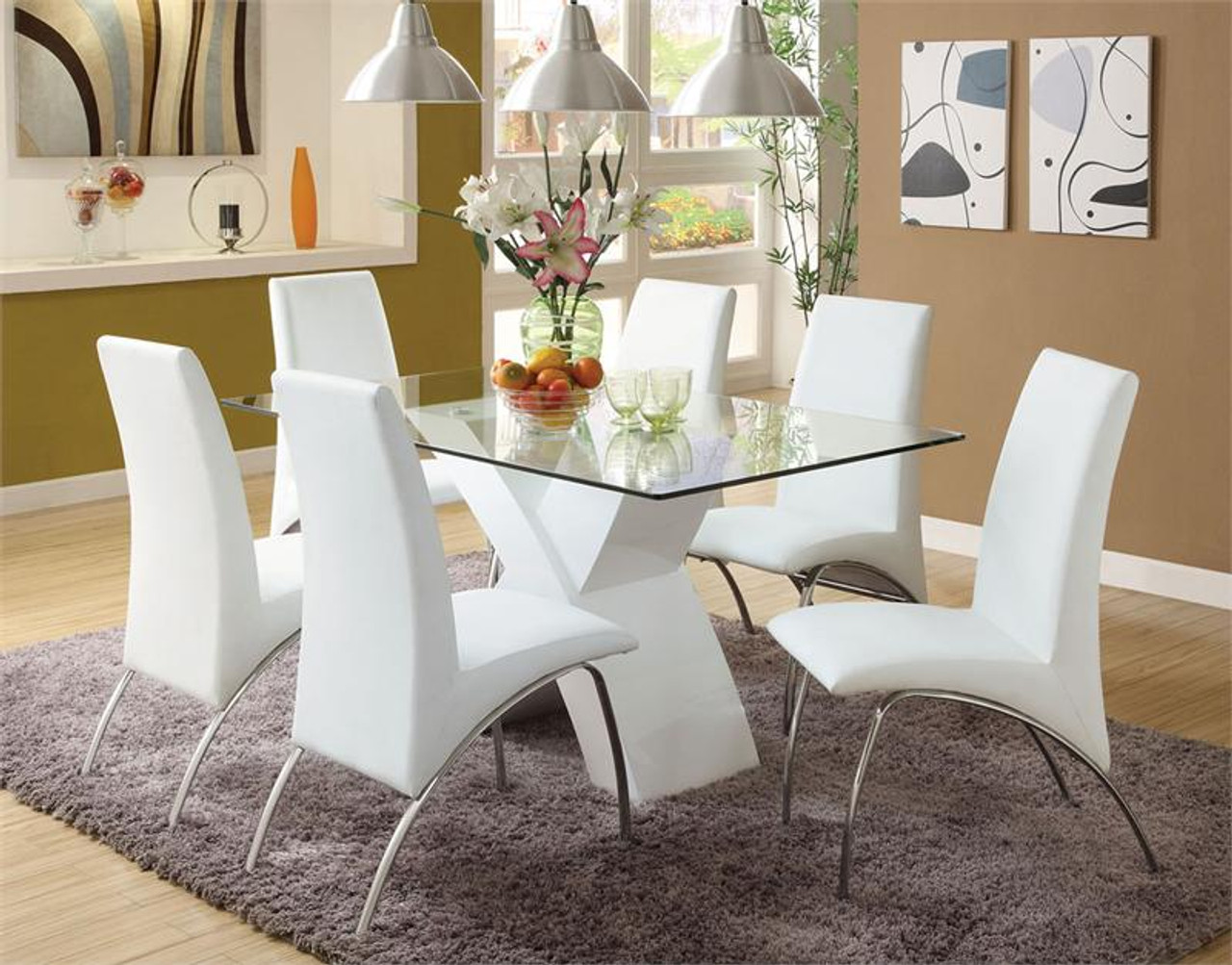Picture of: Lydia Glass Chrome White Glass Top Table With Chairs