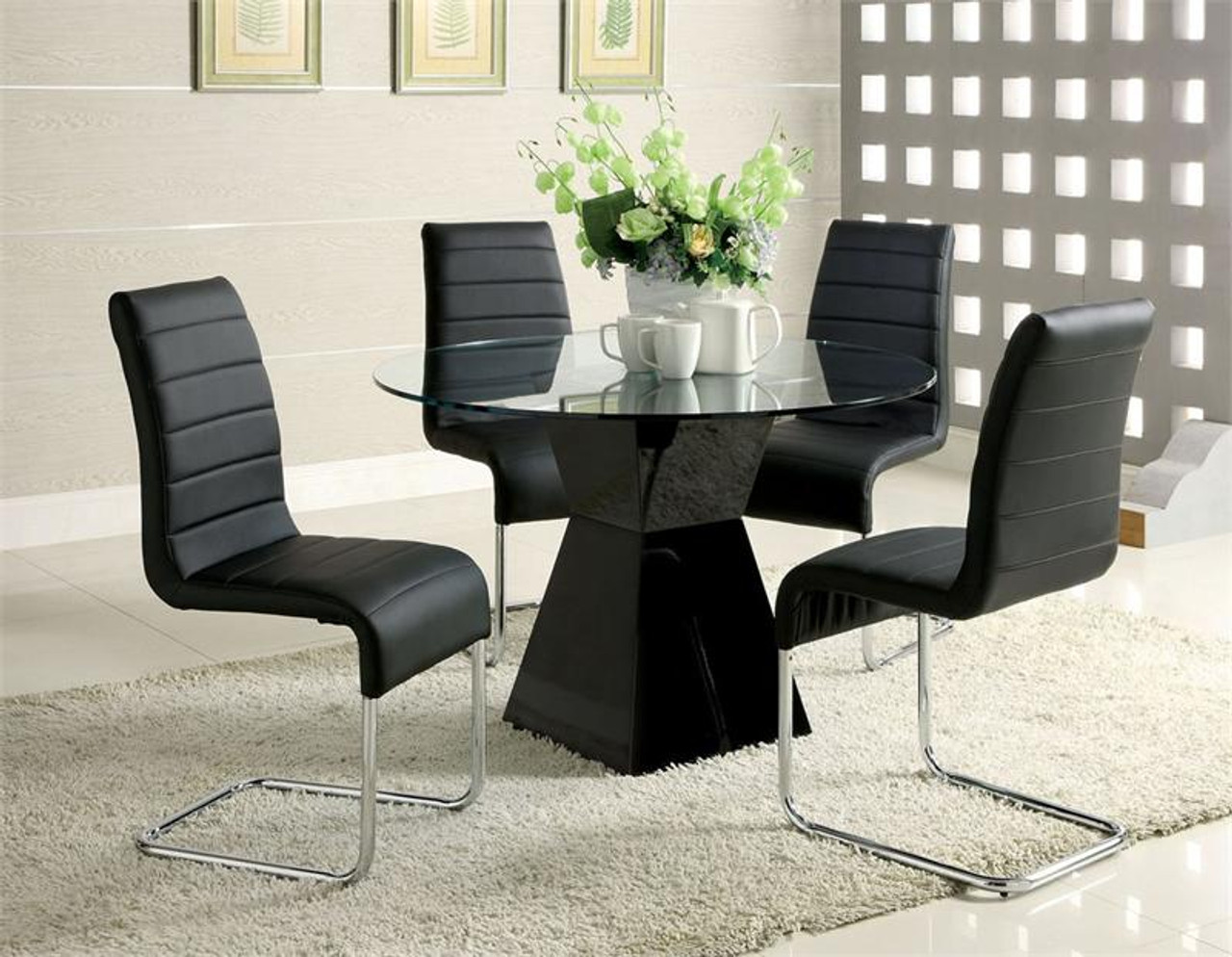 Picture of: 45 Inch Lynelle Round Glass Top Black Dining Table W Chairs