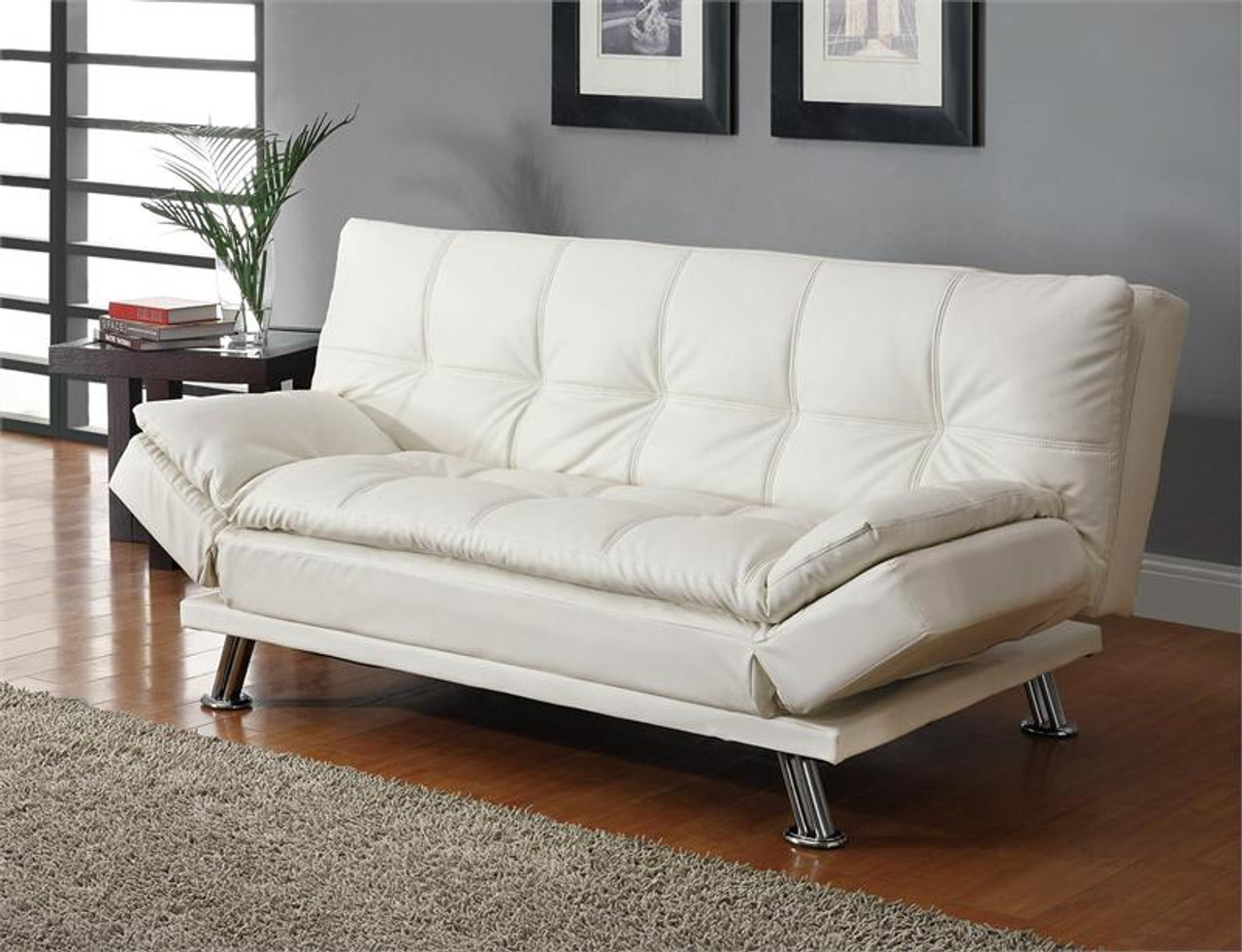 Terrific Contemporary White Leatherette Sofa Bed Caraccident5 Cool Chair Designs And Ideas Caraccident5Info