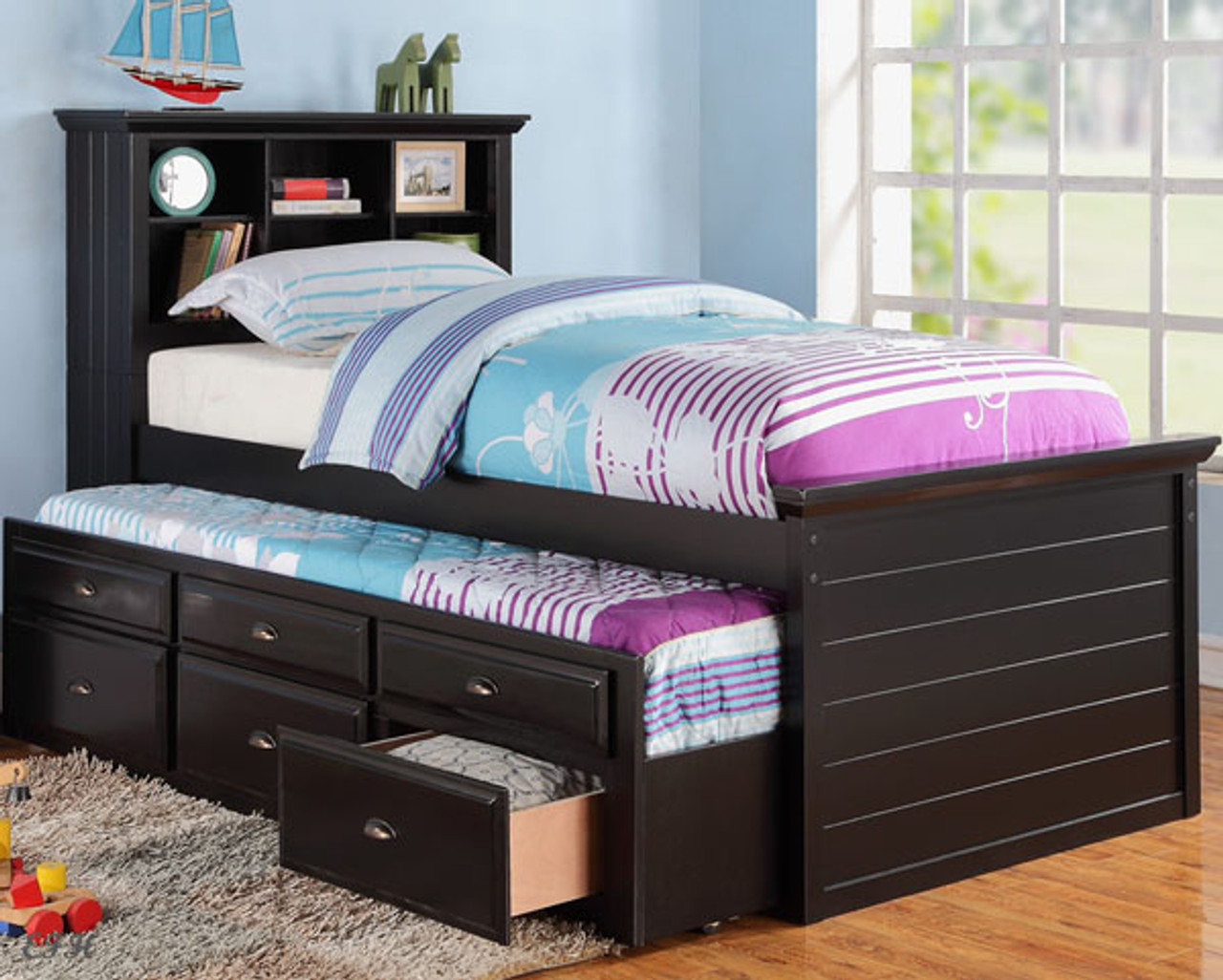 Cecily Black Twin Bookcase Bed W Trundle