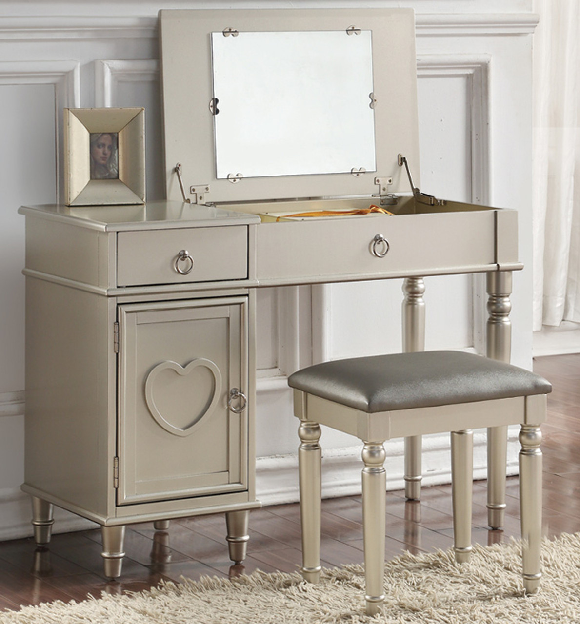 Charlotte Makeup Table Set with Flip Top Mirror and Storage
