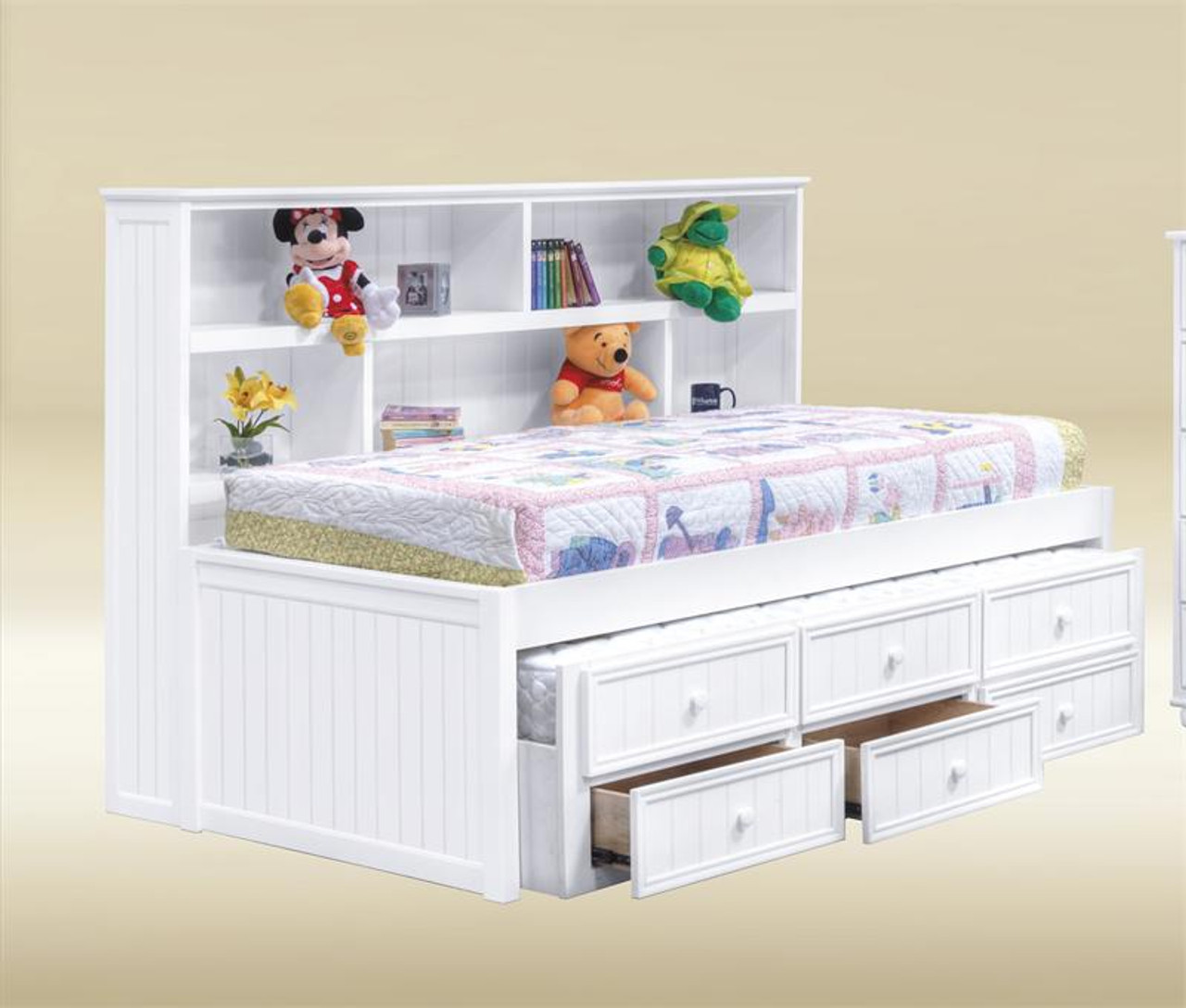 separation shoes 413ac b7a47 Bianca White Twin Size Bookcase Bed