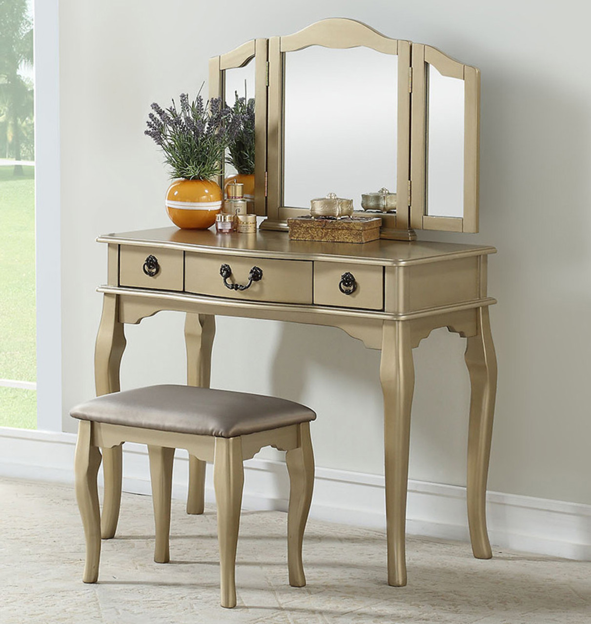 Stupendous Miranda Vanity Table With Bench Mirror Gmtry Best Dining Table And Chair Ideas Images Gmtryco