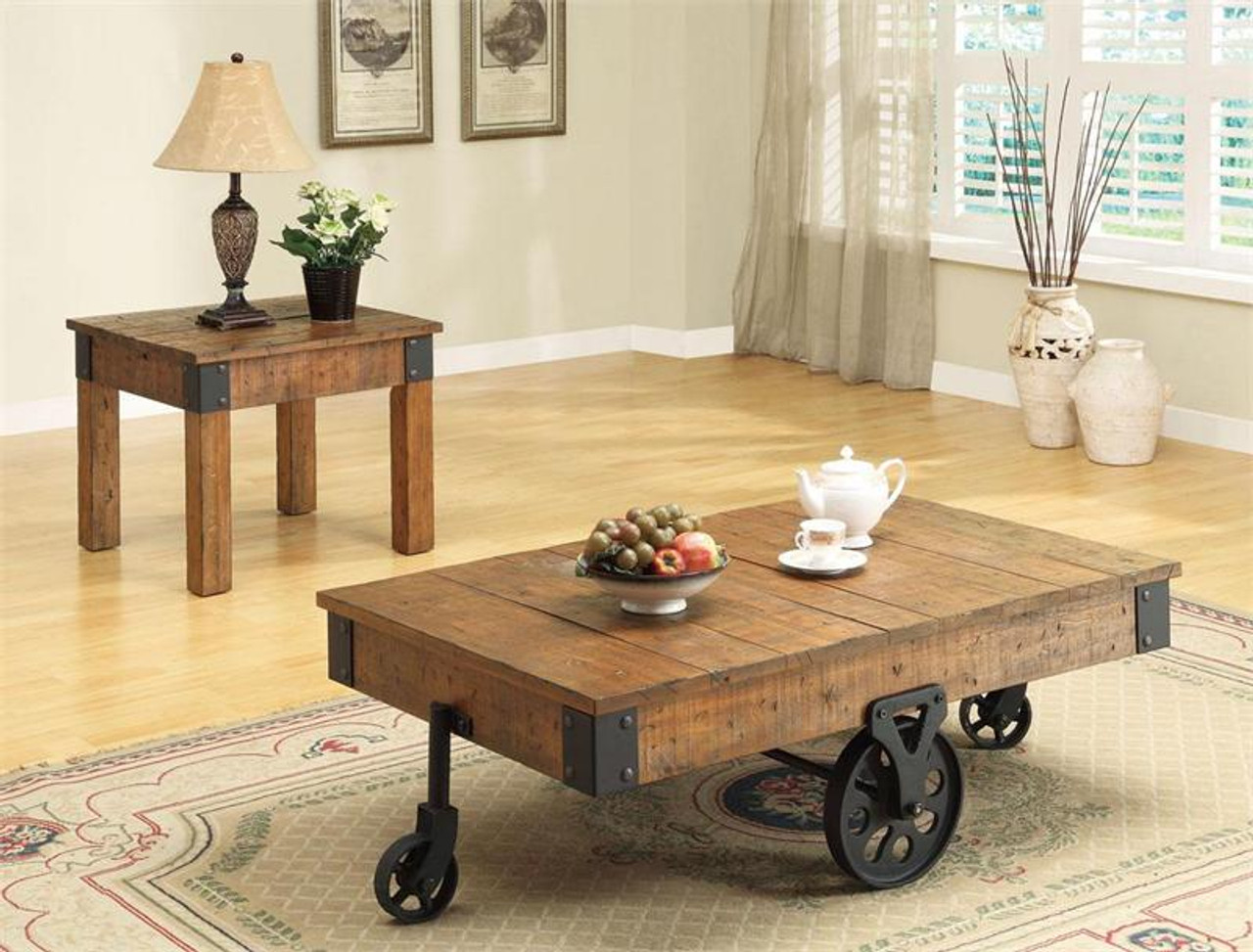 - Country Rustic Industrial Style Coffee Table On Wheels