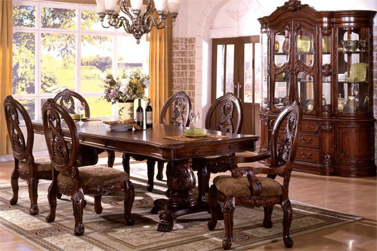 120 Tuscany Antique Cherry Pedestal Dining Table Set