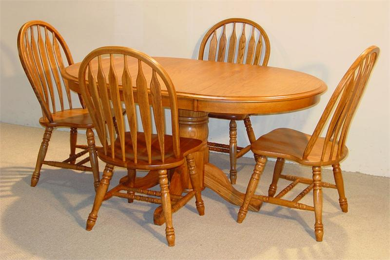Oval Solid Oak Table Set In Golden W 4 Chairs