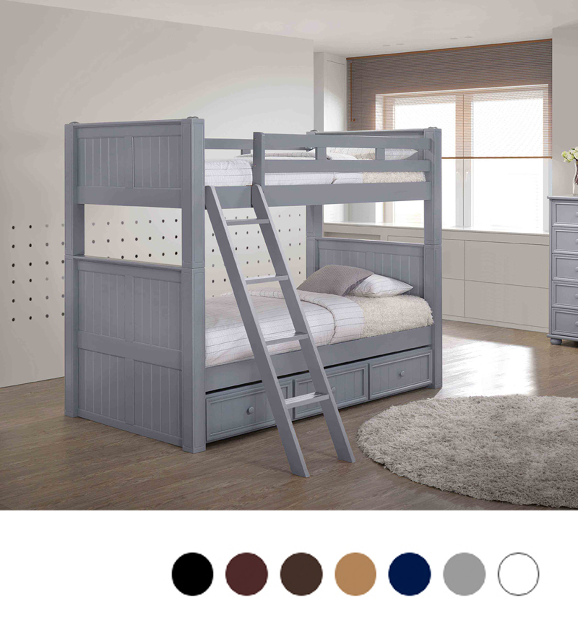 Picture of: Dillon Gray Twin Bunk Bed With Trundle
