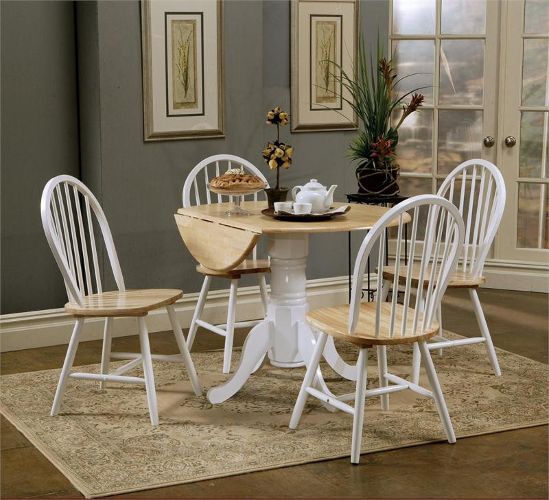 Round Butcher Block Drop Leaf Kitchen Table W Chairs