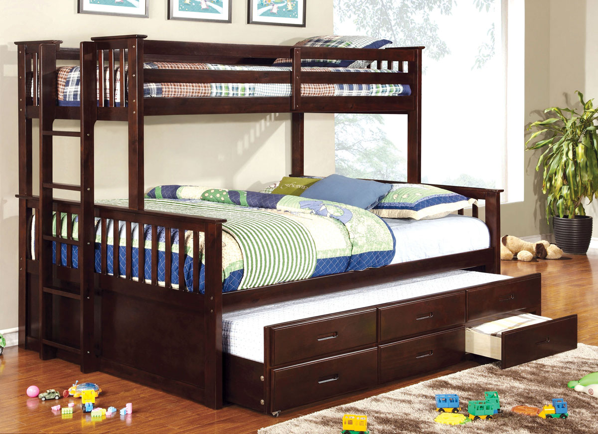 Picture of: Newbridge Extra Long Twin Over Queen Bunk Bed With Trundle