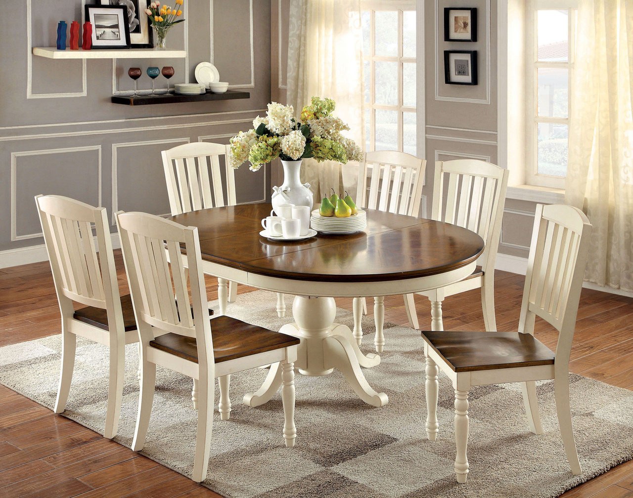 Remarkable 66 Sutton Oval Vintage White Cherry Dining Table Set Theyellowbook Wood Chair Design Ideas Theyellowbookinfo