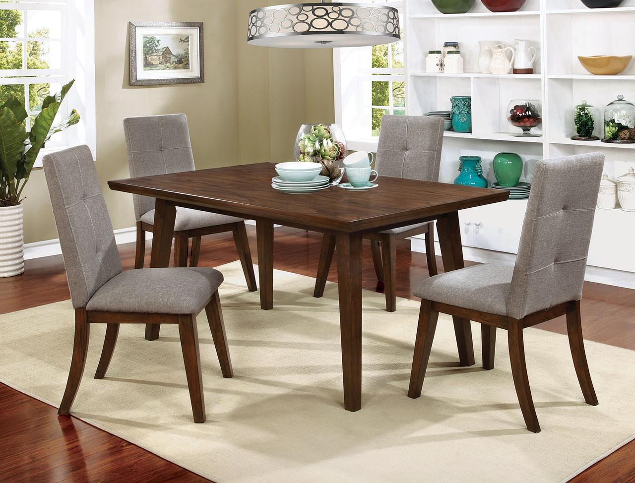 Furniture of America Walnut Dining Table Set