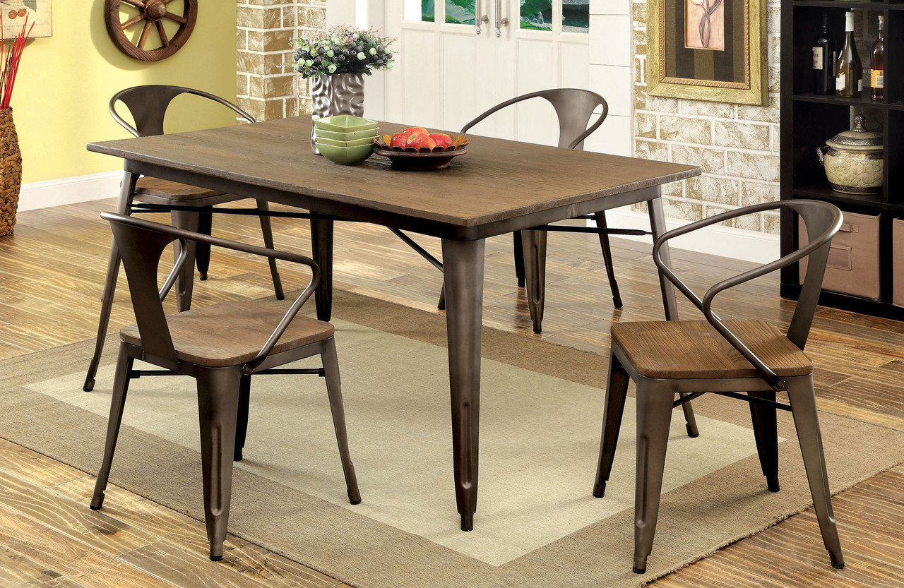Coachella Industrial Natural Elm Dining Table Set