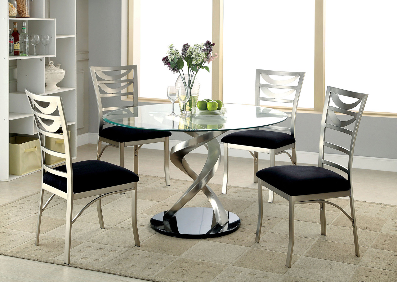 Outstanding 48 Mueller Round Glass Satin Dining Table Set Squirreltailoven Fun Painted Chair Ideas Images Squirreltailovenorg