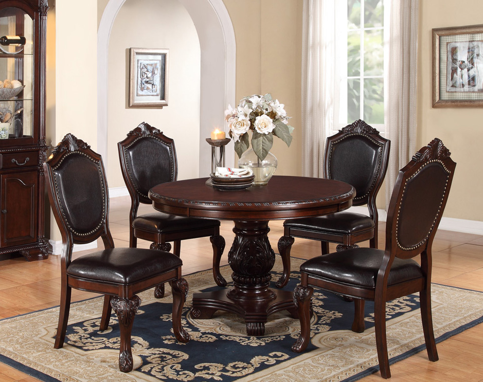Astonishing Marseille 48 Cherry Round Dining Table Set Caraccident5 Cool Chair Designs And Ideas Caraccident5Info