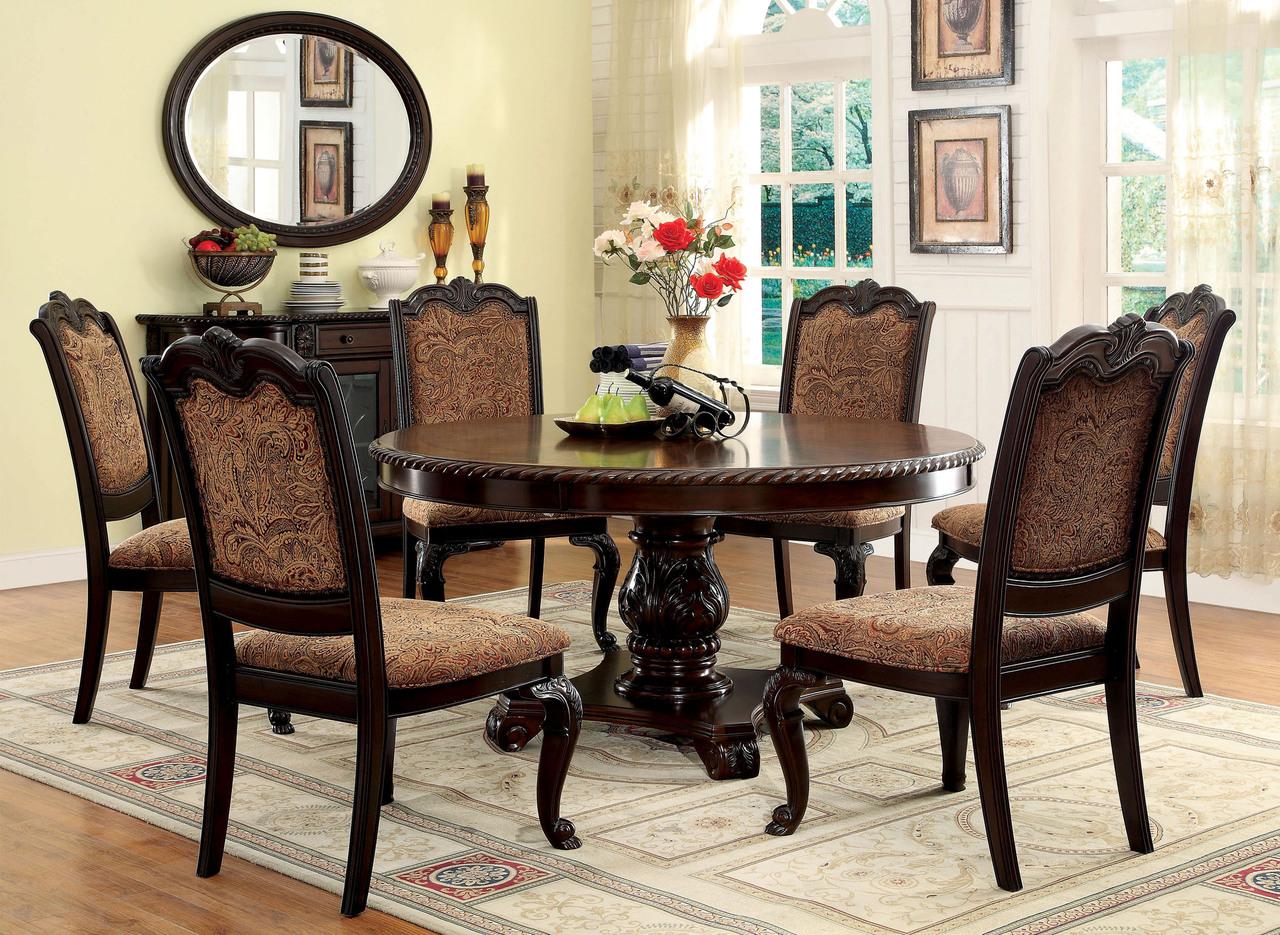 Remarkable 60 Bellagio Brown Cherry Round Dining Table Set Machost Co Dining Chair Design Ideas Machostcouk
