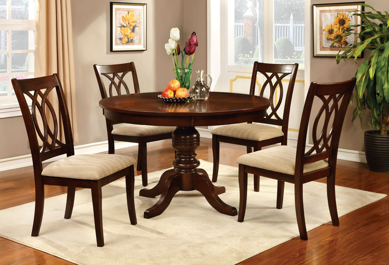 Strange Carlisle 5 Piece Brown Cherry Round Table Set Caraccident5 Cool Chair Designs And Ideas Caraccident5Info