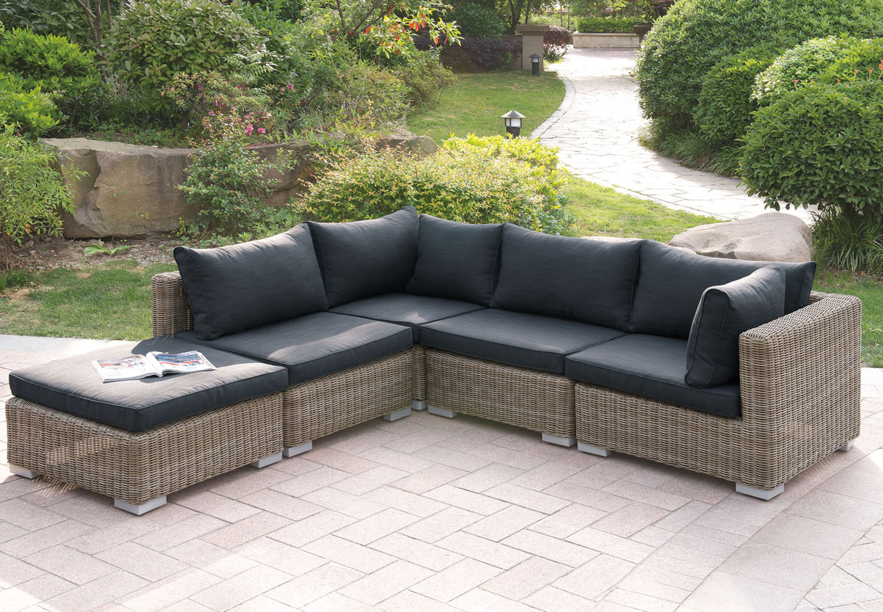 Lizkona 417 Outdoor Patio 5-Pcs Sectional Sofa Set by Poundex