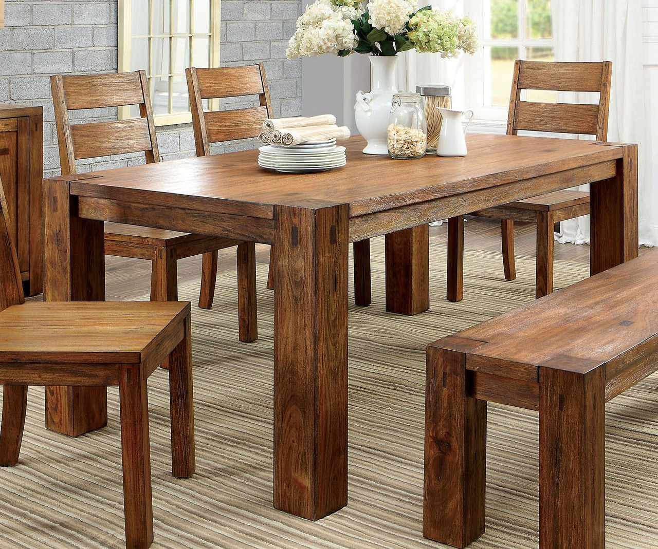 Furniture of America CM3603T Dark Oak Dining Table Set