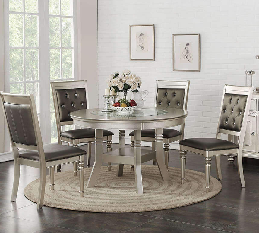 Stella 5 Piece Silver Round Dining Set