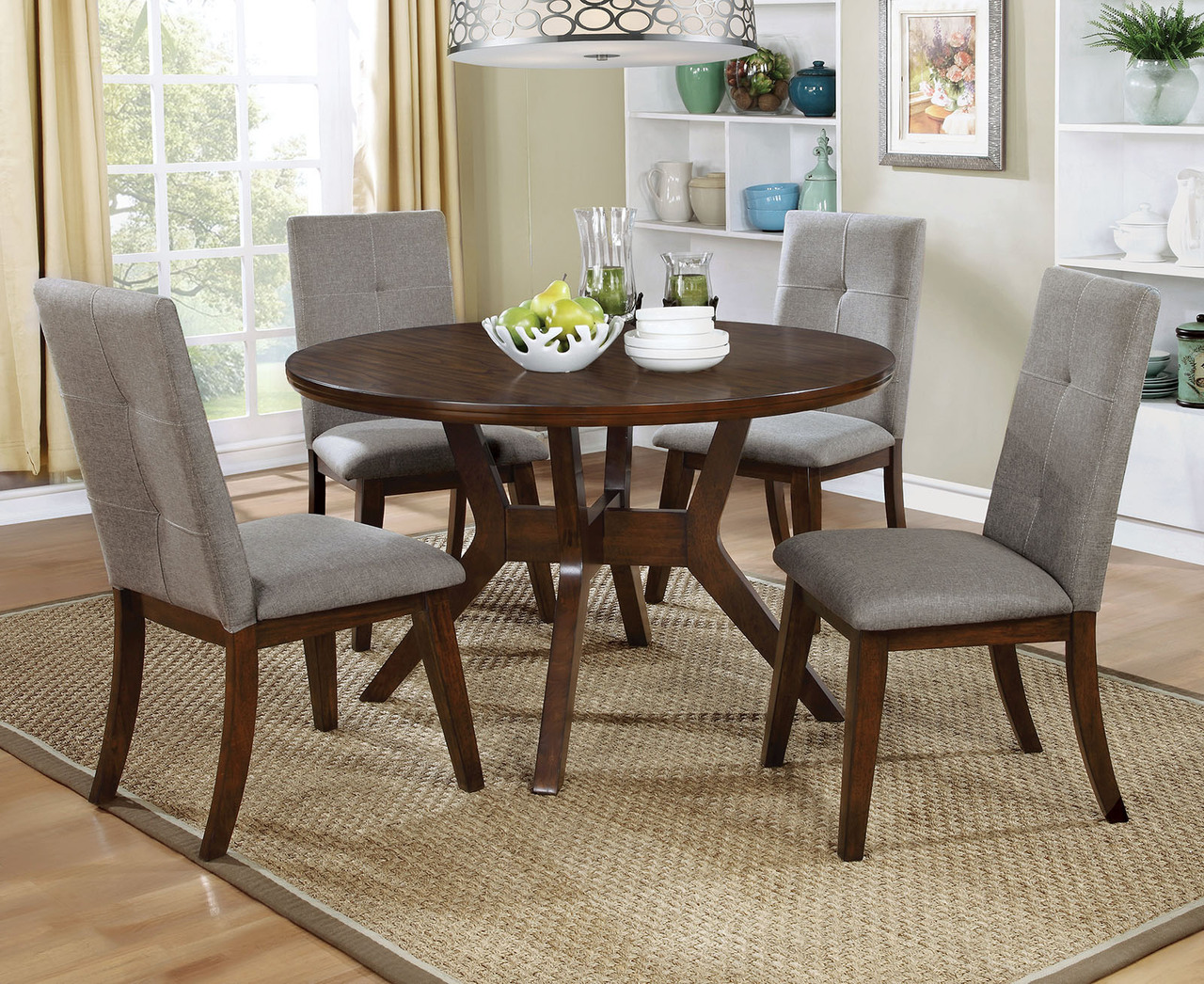Furniture of America Walnut Round Dining Table Set