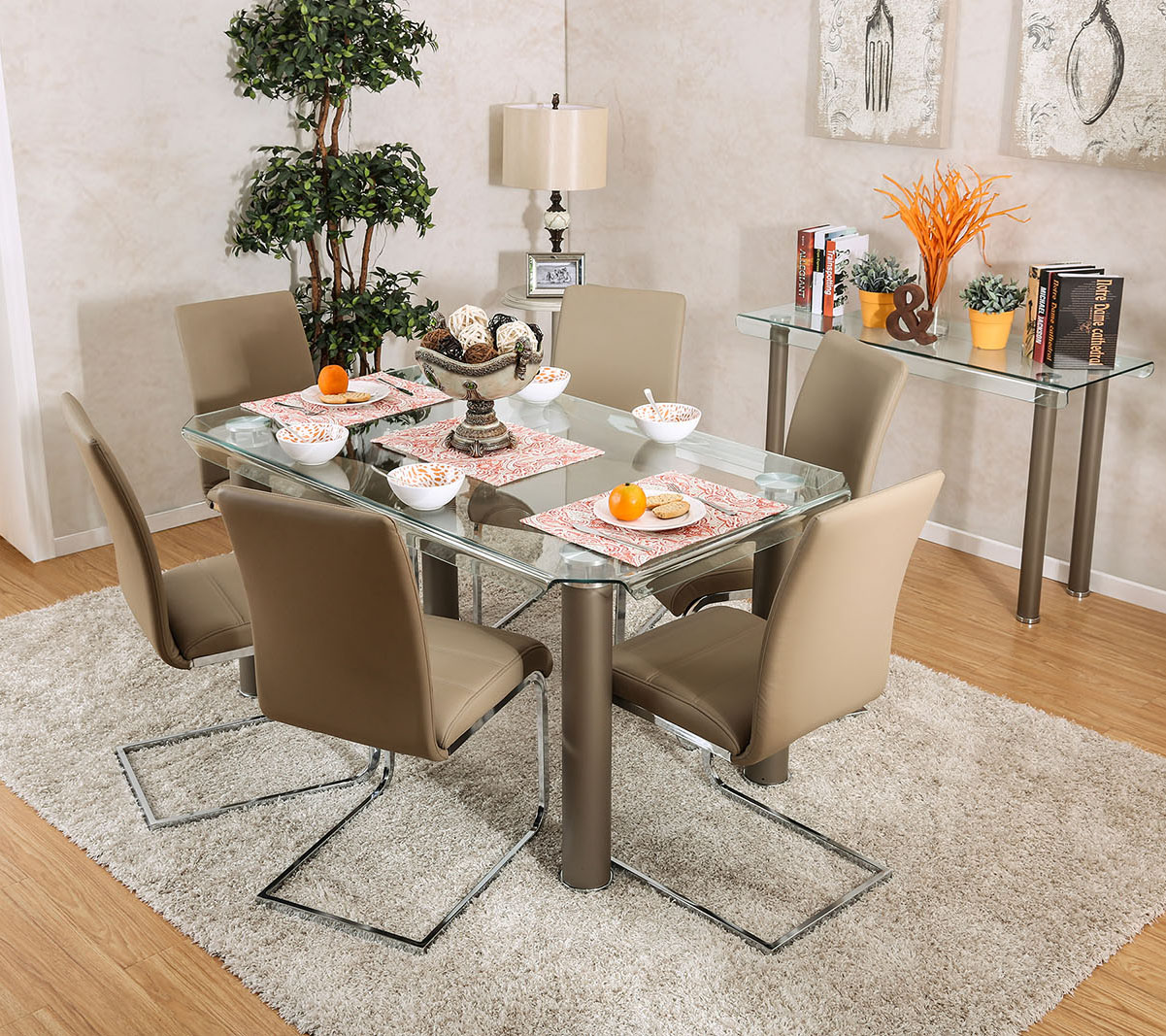 Walkerville Rectangular Glass Table With Six Chairs