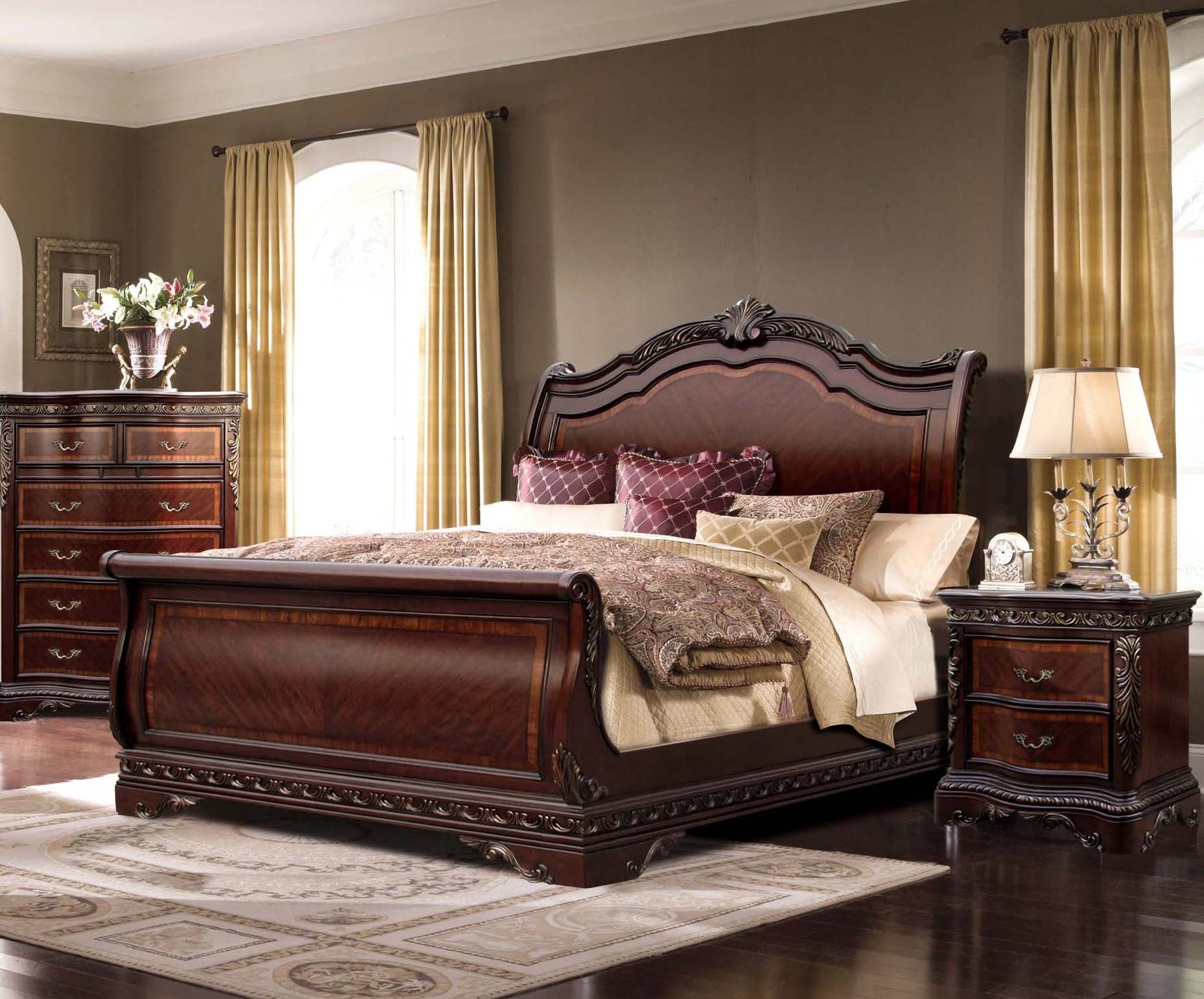 Andalusia 4 Pc Cherry Sleigh Bedroom Set W Dresser Night Stand