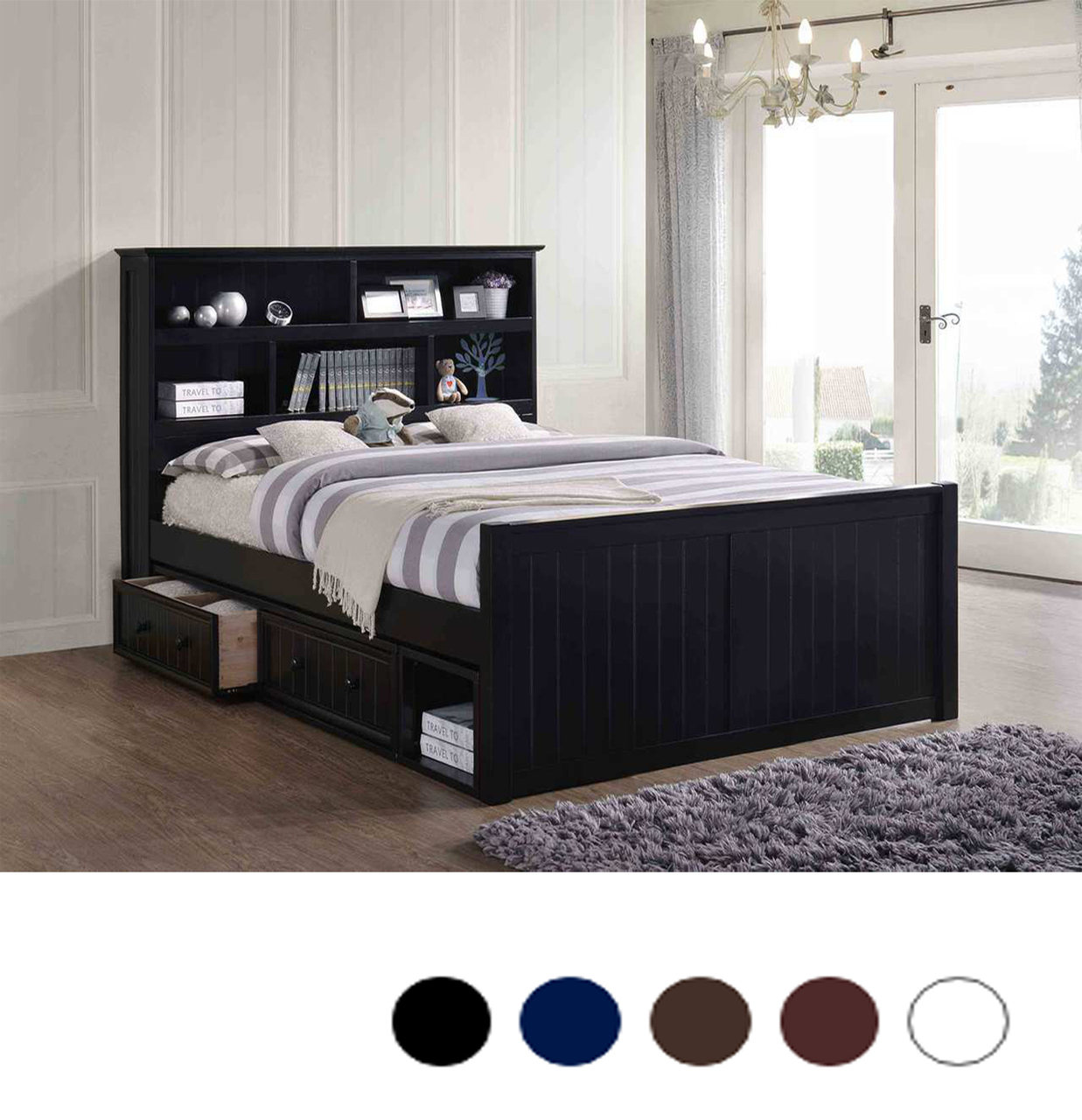 Dillon Wood Bead Board Queen Captains Bed