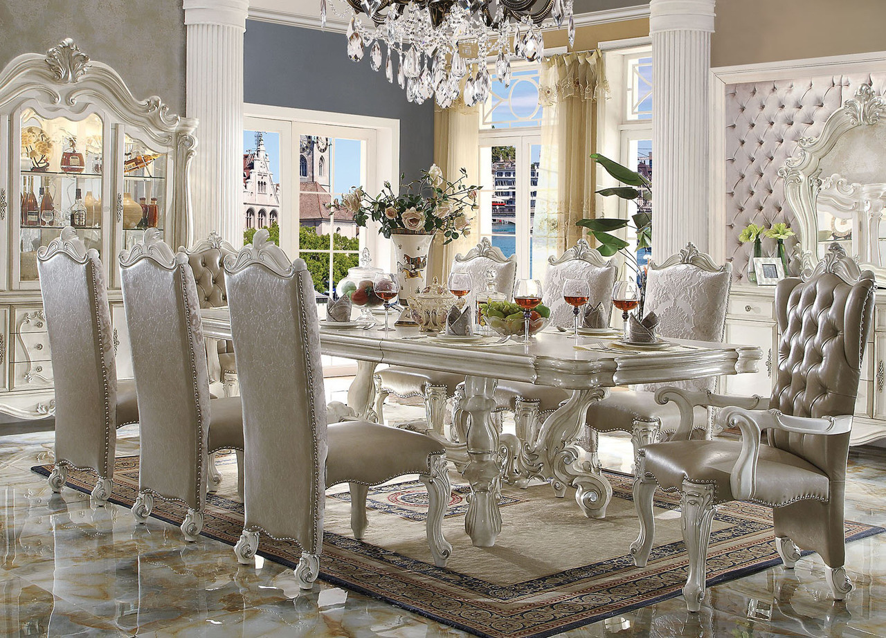 Pleasing 120 Majestic Formal Antique Bone White Dining Table Set Cjindustries Chair Design For Home Cjindustriesco