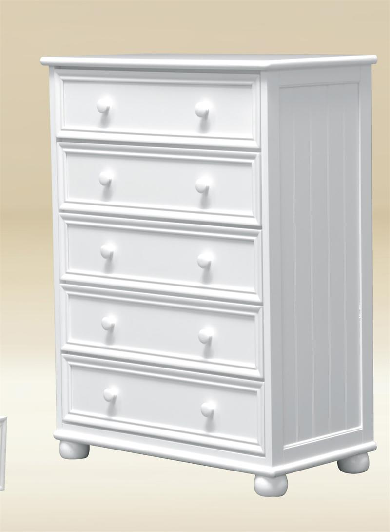 Montclair White Bead Board 5 Drawer Chest Of Drawers