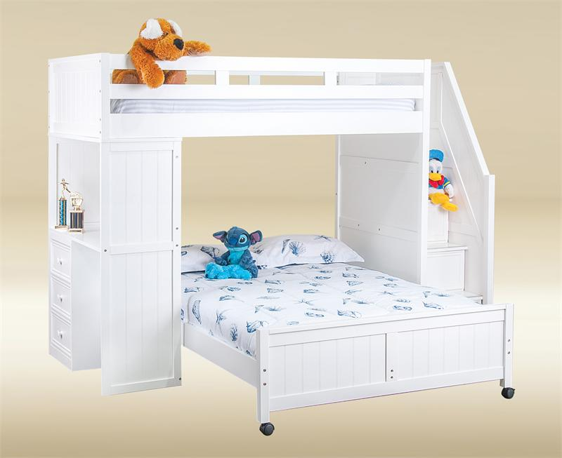 Lake View White Twin Full Loft Bunk with Stairs