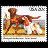 1984 20c Chesapeake Bay Retriever, Cocker Spaniel Mint Single
