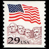 1991 29c Flag over Mt. Rushmore Coil Mint Single