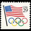 1991 29c Flag with Olympic Rings Bklt Single Mint