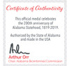 Alabama Bicentennial Alabama History Commemorative Coin - Bronze  COA 2