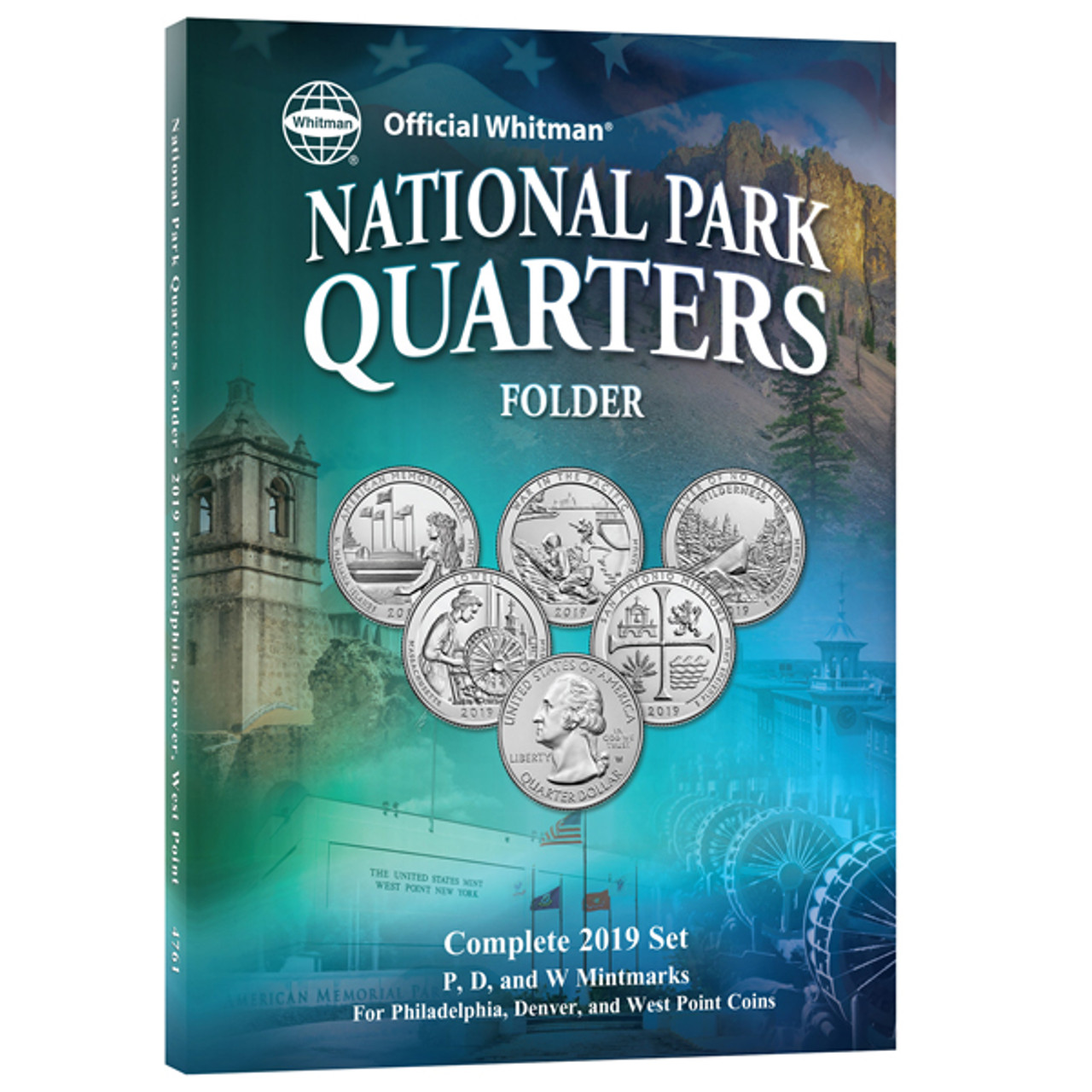 Official Whitman 2019 National Park Quarters Folder with W Mint Mark~3 Page~New~